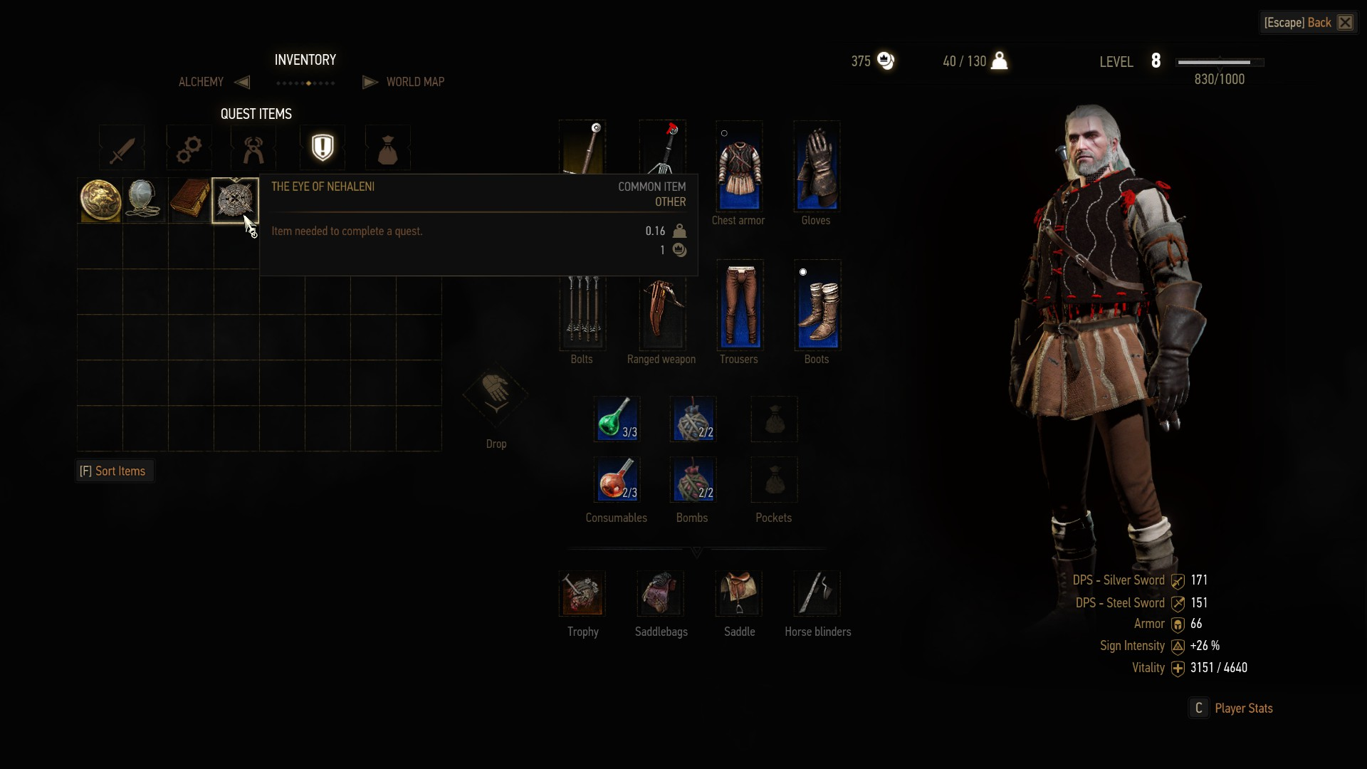 Cannot equip the Eye of Nehaleni | Forums - CD PROJEKT RED