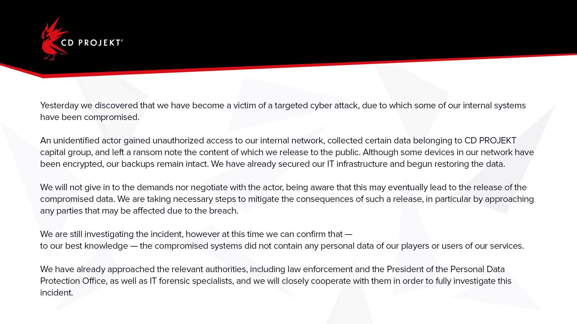 CD Projekt Red'in paylaşmış olduğu basın açıklaması